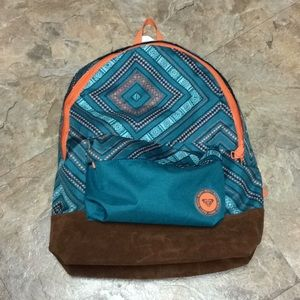 Roxy Teal tribal pattern backpack NWT!